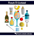 french 75 cocktail set isolated elements on vector image vector image