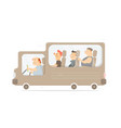 funny bus amusing characters vector image