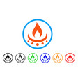gas burner jet flame rounded icon vector image