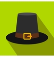 Gorgeous pilgrim hat flat icon with shadow vector image vector image