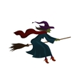 Halloween Old witch flying on broom vector image vector image