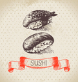 Hand drawn vintage sushi background vector image vector image