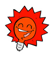 happy flashing red light bulb comic cartoon vector image vector image