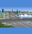 highway and cars in the city vector image