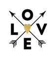 love text arrows glitter heart graphic design vector image