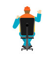 machine operator sits on chair worker in helmet vector image