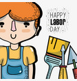 man celebrating hoday of labor day vector image vector image