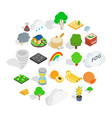 mother nature icons set isometric style vector image
