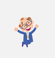 old businessman with glasses jumping for joy vector image