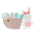 owl bird and rabbit with feathers hat and basket vector image vector image