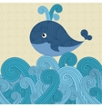 Patterned whale on the waves vector image