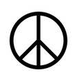 peace sign circle black white isolate vector image vector image