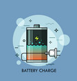 rechargeable battery with liquid inside and plug vector image