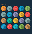 Round Thin Icon with Shadow Set 14 vector image vector image