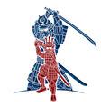 samurai warrior action cartoon graphic vector image vector image