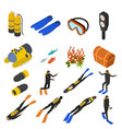 scuba diving signs 3d icons set isometric view vector image