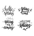 set hand lettered spring phrases vector image vector image