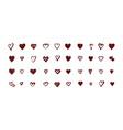 set icon hearts vector image vector image