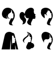 silhouettes heads women with different vector image vector image