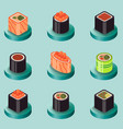 sushi flat isomeric icons vector image vector image