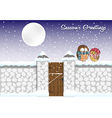 template of Christmas card with funny birds vector image vector image