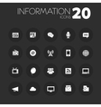 Thin information icons on dark gray vector image vector image
