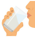 to drink water a glass with water healthy vector image