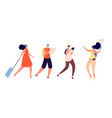 tourists walking travel vacation person trip vector image vector image