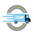 trunk with package service route to delivery vector image vector image