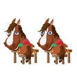 Two horses in stable stand back and turn around vector image vector image