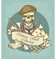 victorian skull label vector image vector image