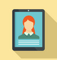 woman online learning icon flat style vector image vector image