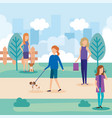 young women with dog and shopping bag in the park vector image
