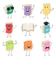 cute humanized books characters representing vector image