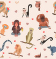 different cartoon monkey breed character animal vector image