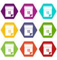 10 date calendar icon set color hexahedron vector image