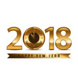 2018 new year golden letters with clock on white vector image