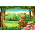A big brown bear above the stump vector image vector image