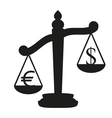 Balance with the currency symbol dollar and euro vector image