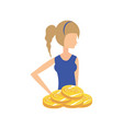 beautiful woman with coins retro style fashion vector image