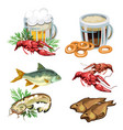 beer in mug with snacks crabs fish bagels vector image vector image