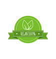 bio food logo vegan badge vegan food sign vector image