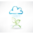 Brush icon with image of rainy cloud and green vector image vector image