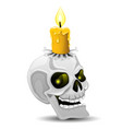 burning candle on a skull vector image vector image