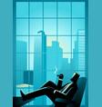 businessman smoking cigar near window vector image vector image