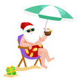 cartoon santa claus in swimsuit sitting in chair vector image vector image