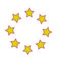 christmas star circle frame decoration festive vector image