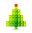 christmas tree made of plastic blocks vector image vector image
