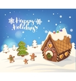 Cristmas Background with gingerbread house vector image vector image
