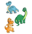 Cute cartoon green blue and orange dinosaur vector image vector image